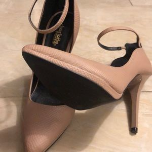 Charlotte Russe Shoes - Nude heels with a strap from CR